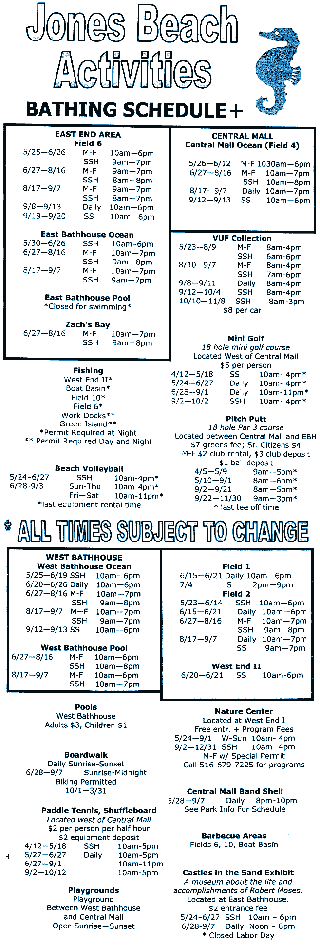 Jones Beach State Park Hours Activities Bathing Schedule
